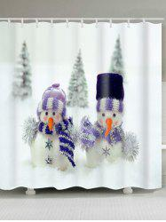 Snowman Couples Print Christmas Waterproof Shower Curtain - WHITE W59 INCH * L71 INCH