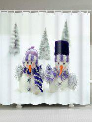 Snowman Couples Print Christmas Waterproof Shower Curtain -