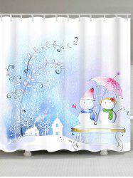 Snowman Couples Print Waterproof Bath Curtain - COLORMIX W71 INCH * L71 INCH