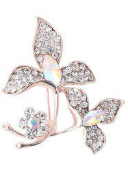 Faux Gem Rhinestoned Floral Sparkly Brooch - WHITE