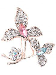Faux Gem Rhinestoned Floral Broche Sparkly -