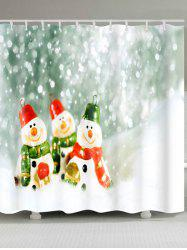 Three Snowman Print Christmas Waterproof Bath Curtain - COLORMIX W59 INCH * L71 INCH
