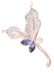 Rhinestone Faux Crystal Sparkly Leaf Brooch - PURPLE
