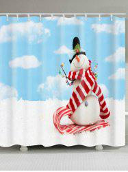 Waterproof Polyester Christmas Snowman Shower Curtain -