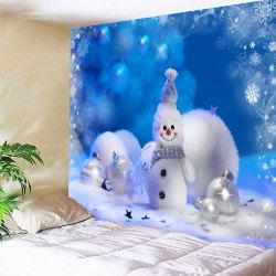 Wall Hanging Christmas Snowman Bedroom Tapestry - Blue - W91 Inch * L71 Inch