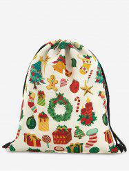 Drawstring Print Christmas Backpack -
