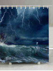 Lightning Ocean Wave Print Waterproof Bathroom Shower Curtain -