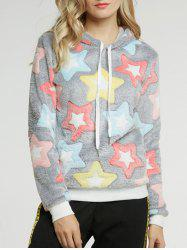Long Sleeve Five Pointed Star Pattern Hoodie - COLORMIX M