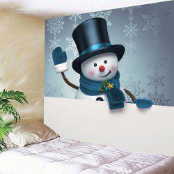 Wall Art Christmas Snowman Snowflake Printed Tapestry - W59 Inch * L51 Inch