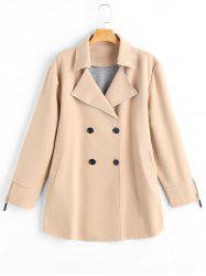 Plus Size Lapel Double Breast Coat with Pocket -