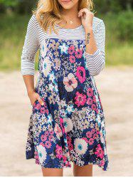 Floral Striped Casual Dress - COLORMIX S