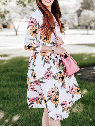 Flower Print Swing Casual Dress - WHITE M