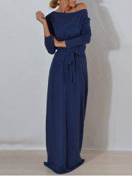 Long Sleeve One Shoulder Maxi Dress - BLUE S