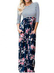 Striped Floral Floor Length Dress -