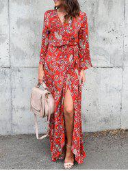 Belted Slit Floral Print Maxi Dress - RED L