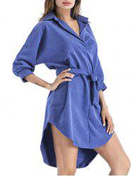High Low Shirt Dress with Belt - ROYAL XL