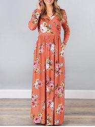 V Neck Floral Long Beach Dress - JACINTH XL