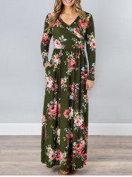 V Neck Floral Long Beach Dress -