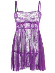 Lace Slip See Thru Babydoll - PURPLE XL