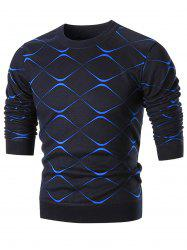 Two Tone Knit Pullover Sweater - BLUE XL