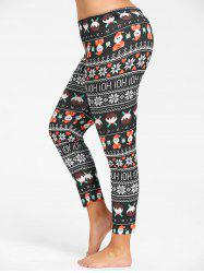 Plus Size Cute Father Christmas Printed Slim Pants - BLACK 2XL