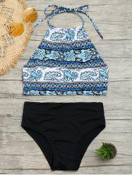 Halter Tribal Print Bikini Set - COLORMIX S
