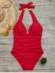 Halter One Piece Ruched Swimsuit - RED L