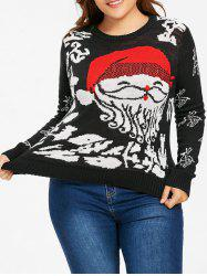 Christmas Santa Claus Plus Size Jumper Sweater - BLACK 5XL
