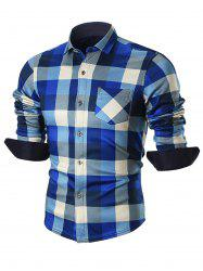Chest Pocket Fleece-lined Plaid Shirt - BLUE 3XL
