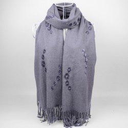 Vintage Small Flower Embroidery Fringed Long Scarf - GRAY