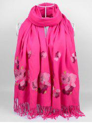 Vintage  Floral Embroidery Ethinc Style Fringed Scarf -