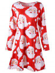 Santa Claus Print Mini Plus Size Swing Dress - Red - 5xl