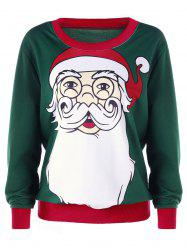 Christmas Santa Claus Print Plus Size Sweatshirt - DEEP GREEN 4XL