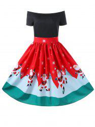 Christmas Off The Shoulder 50s Swing Dress -