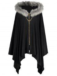 Faux Fur Insert Plus Size Asymmetric Cape Coat -