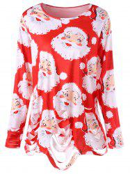 Plus Size Santa Claus Print Ripped Christmas T-shirt -