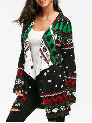 Christmas Graphic Knitted Tunic Draped Cardigan -