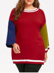 Plus Size Hit Color Long Sweater -