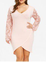 High Low Pineapple Lace Plus Size Dress -