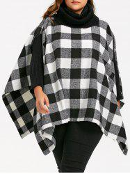 Plus Size Plaid Turtleneck Poncho Coat -
