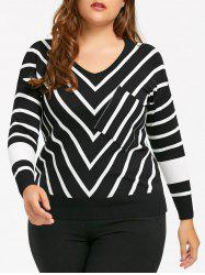 Plus Size Knit V Neck  Striped Sweater -