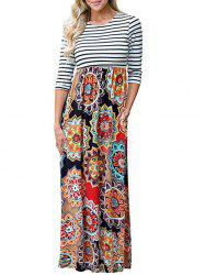 Long Tribal Flower Print Striped Dress -