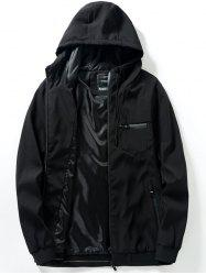Chest Pocket Zip Up Hooded Track Jacket -