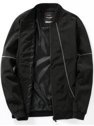 Zip Up Stitching Design Casual Bomber Jacket -