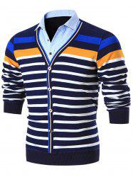 Shirt Collar Colorblocked Striped Cardigan -