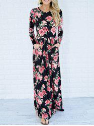 Long Sleeve Maxi Printed Dress with Pockets -