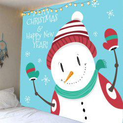Wall Art Christmas Happy Snowman Pattern Tapestry -