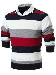 Shirt Collar False Two Piece Wide Stripe Sweater -