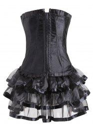 Two Piece Lace-up Flounce Corset Dress -