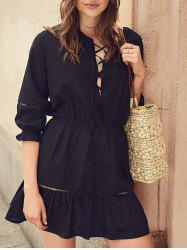 Lace Up Hollow Out Mini Dress -